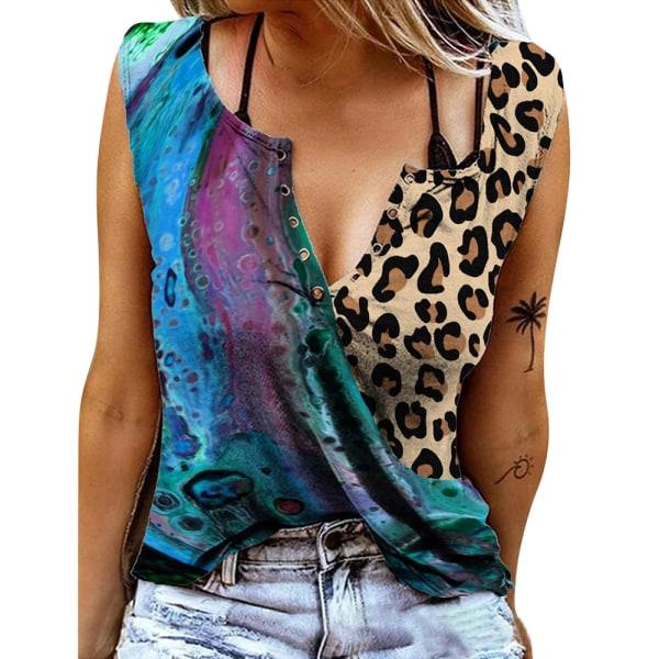 Kvinnor ärmlös V-ringad väst T-shirtblus Casual linne Flower M