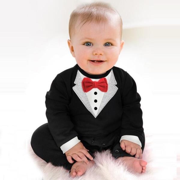 Baby Kid Boy Cotton Gentleman Jumpsuit Romper red 0-6m