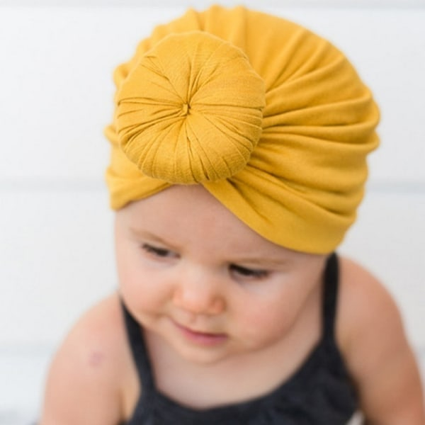 Baby Turban Hattar Bun Knot Nyfödd Spädbarn yellow