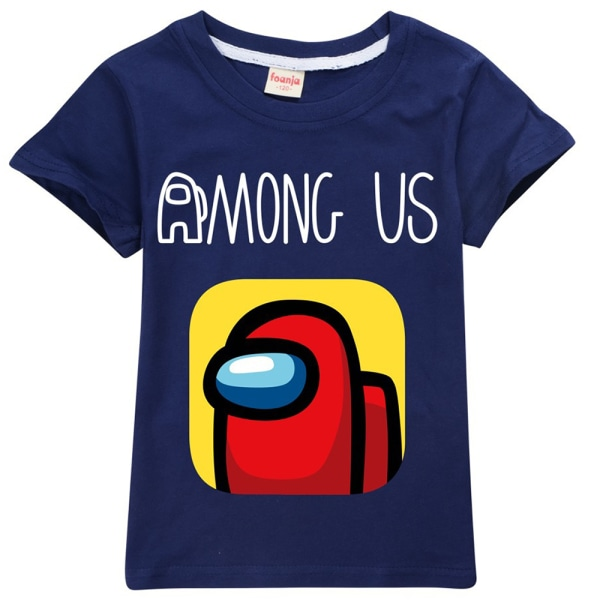 Among Us Boys Girls T-shirt Astronaut Game Tee Top Gift Navy Blue 110cm