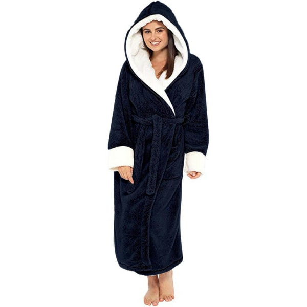 Ladies Hooded Long Sleeve Robe Gown Fleece Housecoat Nightwear Black L