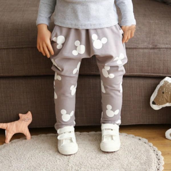 Boys Girls Mickey Mouse Harem Pants Byxor Sweatpants Grey 100