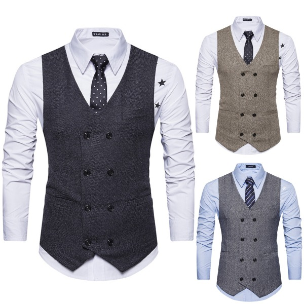 Herr V-ringad dubbelknäppt Business Plaid-väst formell Black & White 2XL