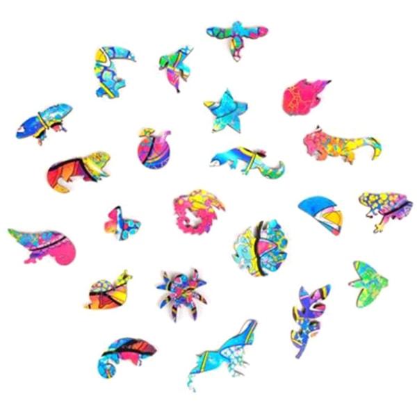 Träpussel Chameleon Unique Animal Shape Toys Decor A3
