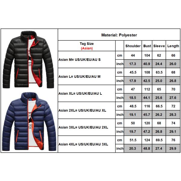 Män Vinter Warm Pad Bubble Coat Puffer Jacka Casual Ytterkläder Red XL
