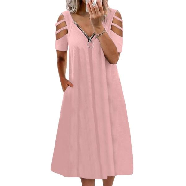 Kvinnor kortärmad v-ringad dragkedja sexig lös baggy casual klänning Pink M