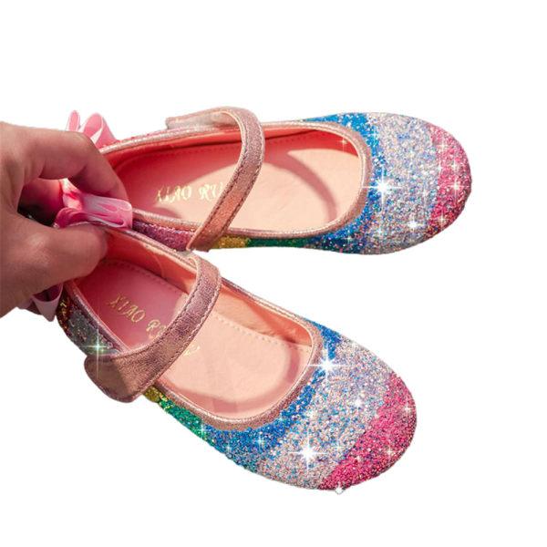 Barn Flickor Söt Rainbow Sequin Bling Princess Party Skor Pink 24
