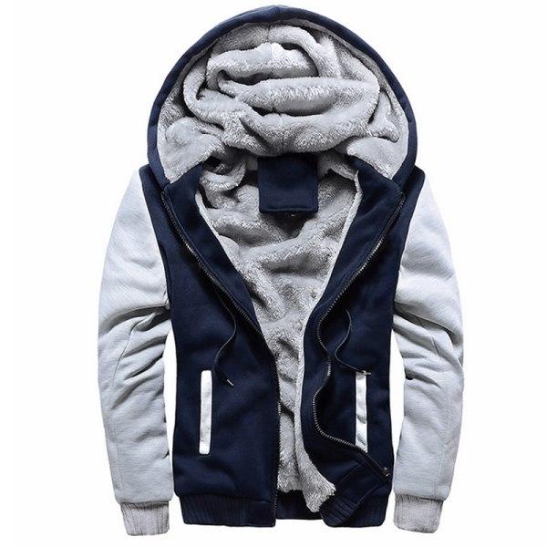 Man Winter Warm Sherpa Fleece Hoodie Coat Jacket Outwear Dark Blue M