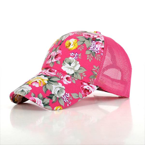 Kvinnor Mesh Baseball Tennis Cap Floral Printed Sports Visor Hat Pink