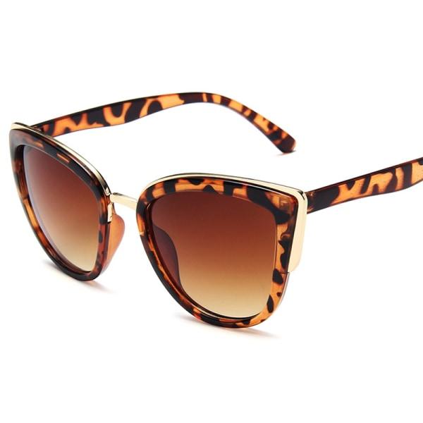 Kvinnor Katt Eye Solglasögon Skugga Sun Leopard Shadow Glasses Brown 3 Pack