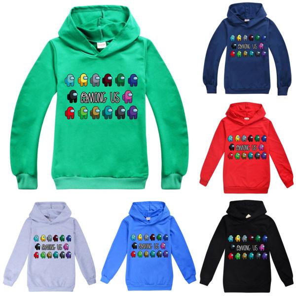 Bland oss Game Kids Hoodie Sweatshirt Pojkar Flickor Streetwear Deep blue 160cm