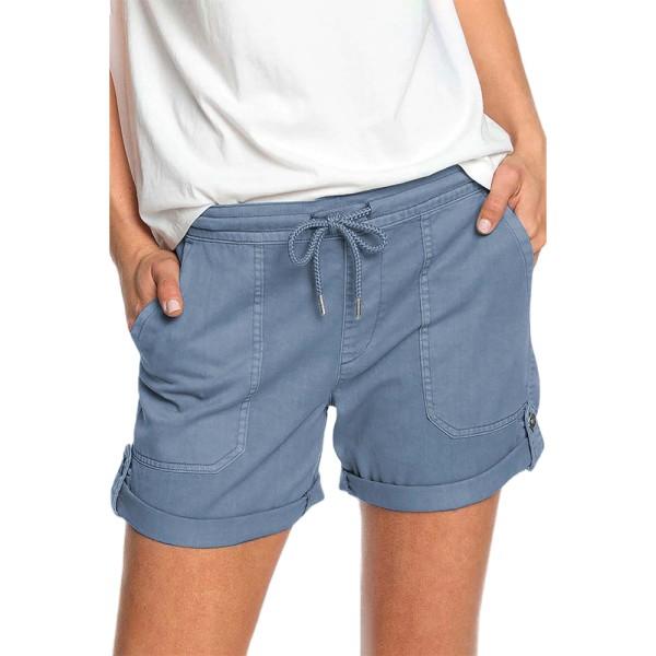Plus Size kvinnor elastiska midja shorts Casual heta byxor blå Blue XL