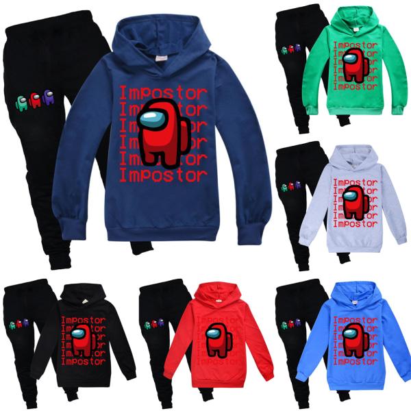 Among Us Game Impostor Set Hoodie Kids Boys Outfit Toppar Byxor Green 110