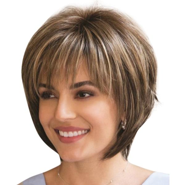 Kvinnors blandade färger lugg kort peruk kvinnlig senior