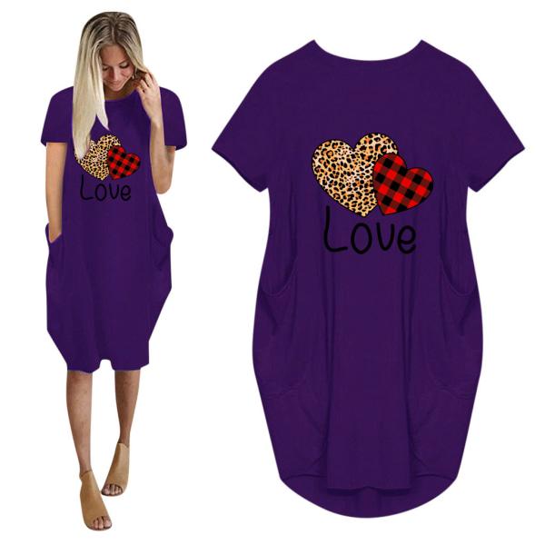 Kvinnor LOVE Hjärtat Sommar T-shirt Klänning Alla Hjärtans Dag Army Green 4XL