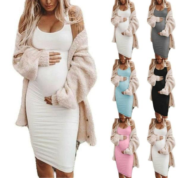 Gravida kvinnor Moderskap Ärmlös klänning Sommar Casual Sundress White S