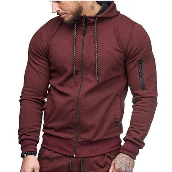 Man Hoody Fleece Zip Up Hoodies Jacka Coat Sweatshirt Vinter Red 3XL