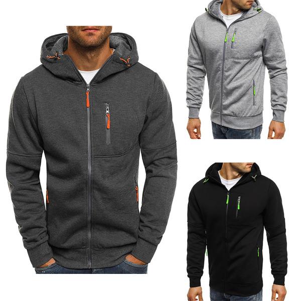 Man Hoody Fleece Warm Hoodies Jacka Coat Sweatshirt Jumper Dark Grey L