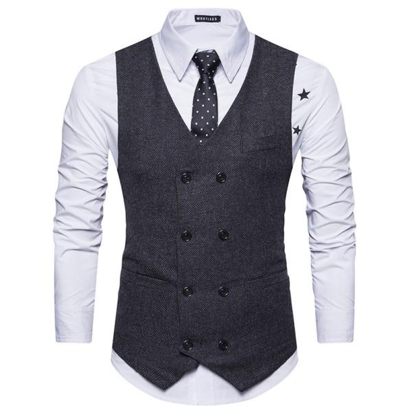 Herr V-ringad dubbelknäppt Business Plaid-väst formell Black S