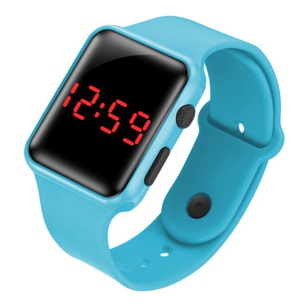 LED Square Electronic Digital Smart Watch Sports Armband light blue