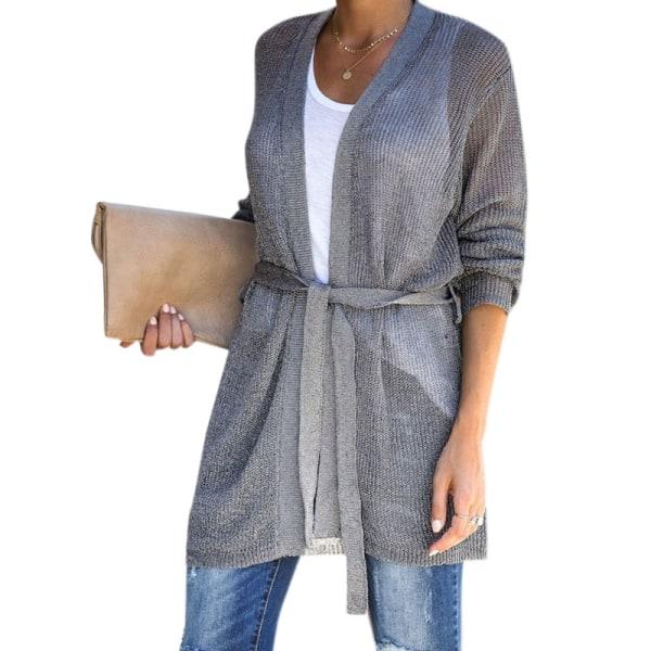 Mode Kvinnor Casual Bandage Tröja Stickad kofta gray M