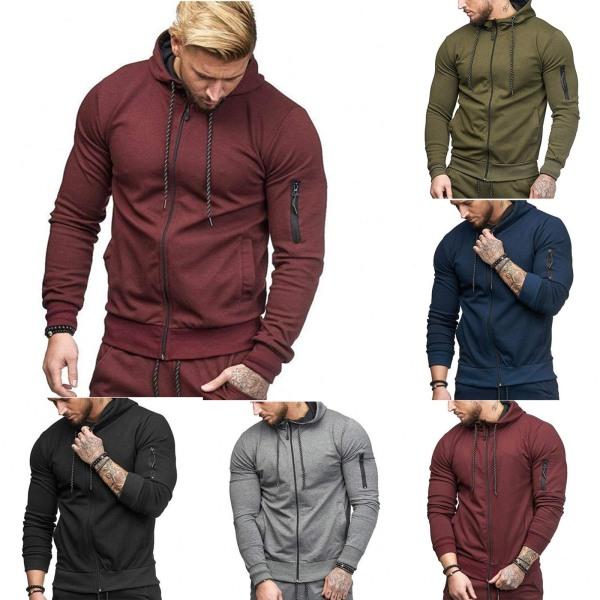Man Hoody Fleece Zip Up Hoodies Jacka Coat Sweatshirt Vinter Dark Cyan 2XL