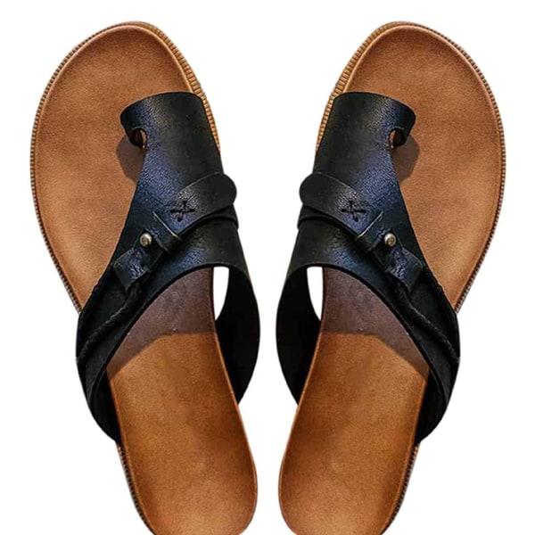 Dam Sandaler Flat Ring Toe Sommar Slide Flip Flop Skor Black 40