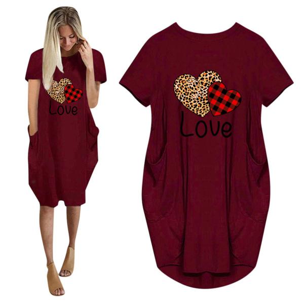 Kvinnor LOVE Hjärtat Sommar T-shirt Klänning Alla Hjärtans Dag Wine Red M