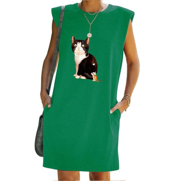 Kvinnor sommar katt tryckt T-shirt klänning ärmlös tank klänningar Green S