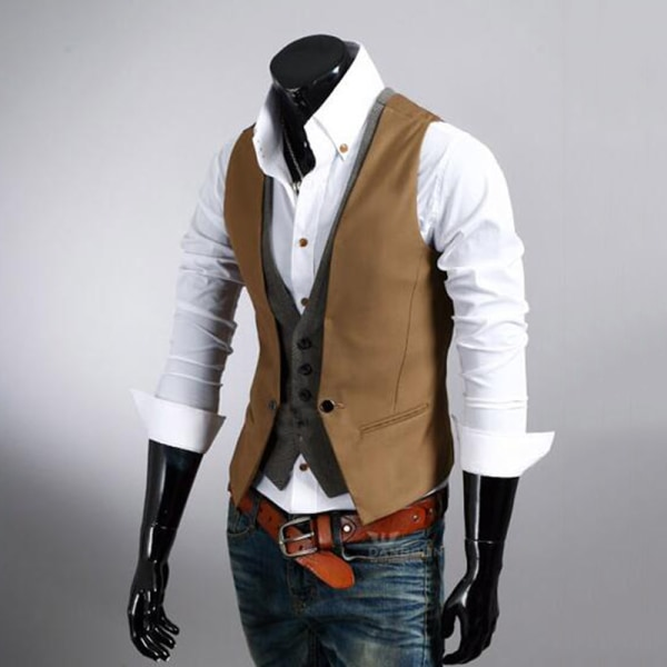 Retro herrväst formell väst Slim Fit Business Jacket Brown 3XL