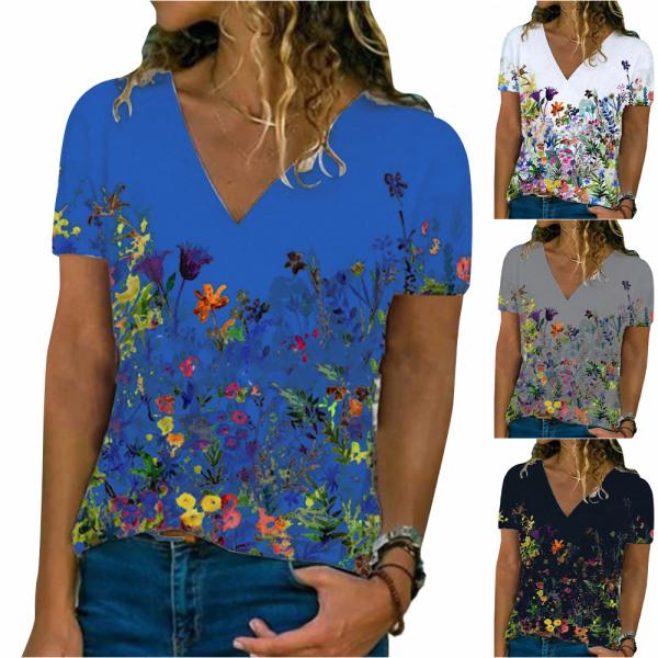 Kvinnor blommigt tryck V-ringad kortärmad T-shirt Black 3XL