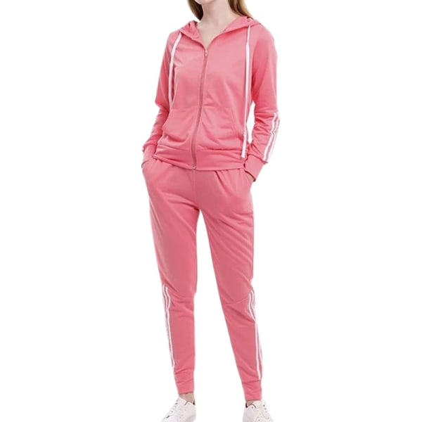 Kvinnor Casual Träningsjackor Set Pink S
