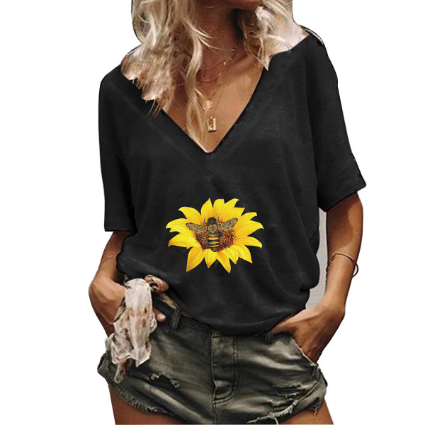Kvinnor blommigt tryck sommar T-shirt toppar kortärmade blusar Black XL