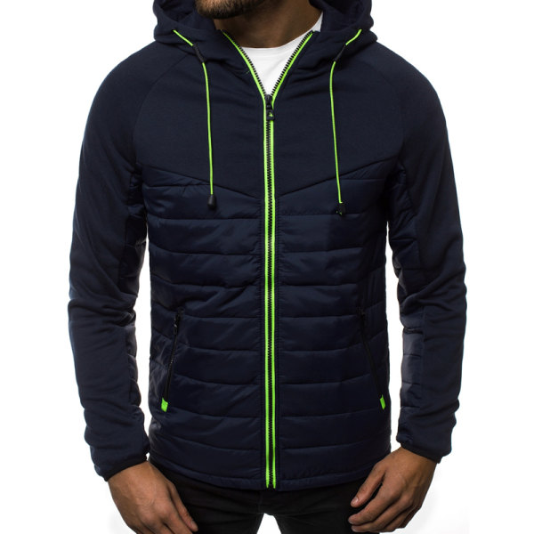 Vinter Quiltad Puffer Bubble Jacket Herr Vadderad rockjacka Blue L
