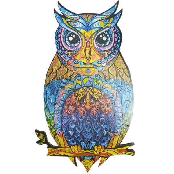 Unidragon trä pussel pussel unik form charmig uggla gåva Owl A4