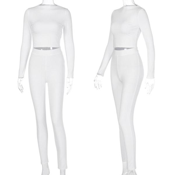 Tempt Dam Streetwear 2 st Tight Skinny Gym Yoga Set White S