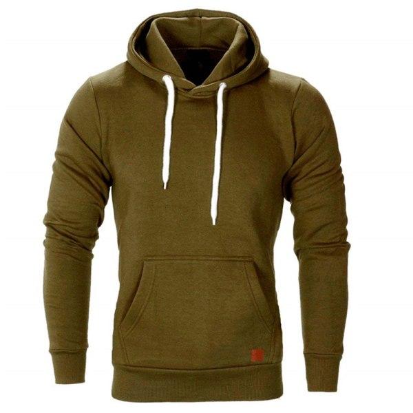 Herr Fleece Zip Up Hoodie Sweatshirt Coat Jacket Tröja Green XL