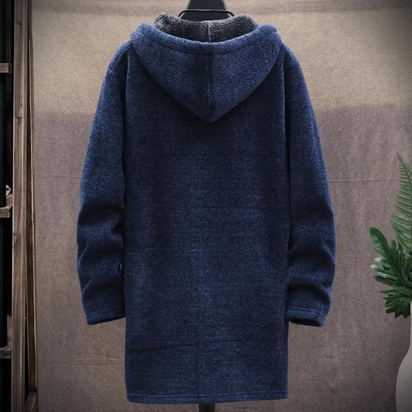 Cardigan-tröja för män öppen front långärmad stickad rock Card Navy blue 3XL