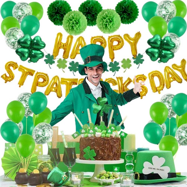 St. Patricks Day Hanging Swirl Folie Irish Leprechauns Party Gold