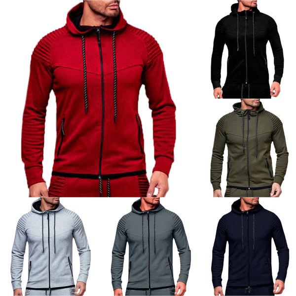 Herr Sports Gym Hoodie Hooded Dragkedja Full Zip Jacket Coat Dark Grey XL