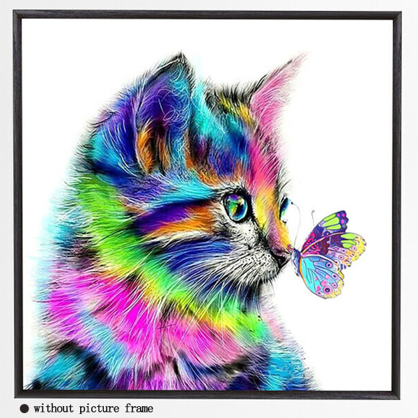 5D DIY diamantmålning Söt färgglad katt