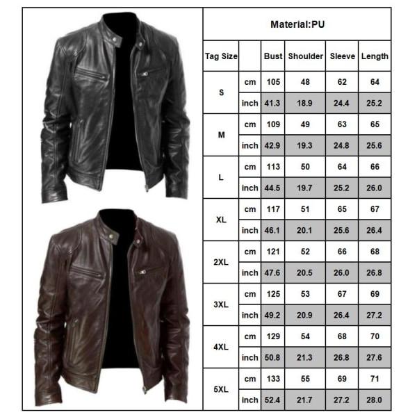 Herr PU läder motorcykel Bikerjacka Coat Outwear Toppar Black L