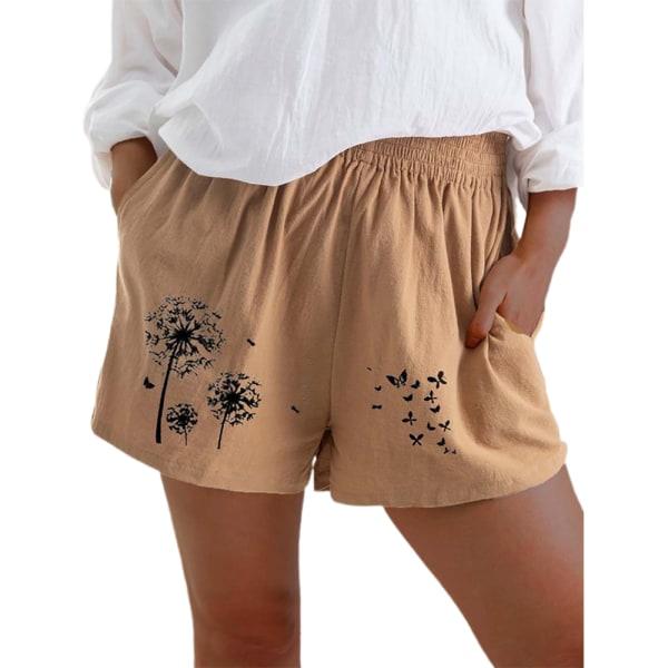 Kvinnor Flickor Print Shorts Resår Midja Casual Hot Byxor Khaki 2XL