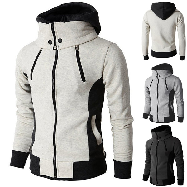 Herr Hoodie Zip Up Coat Sweatshirts Vinter varmare sportjacka Beige 2XL