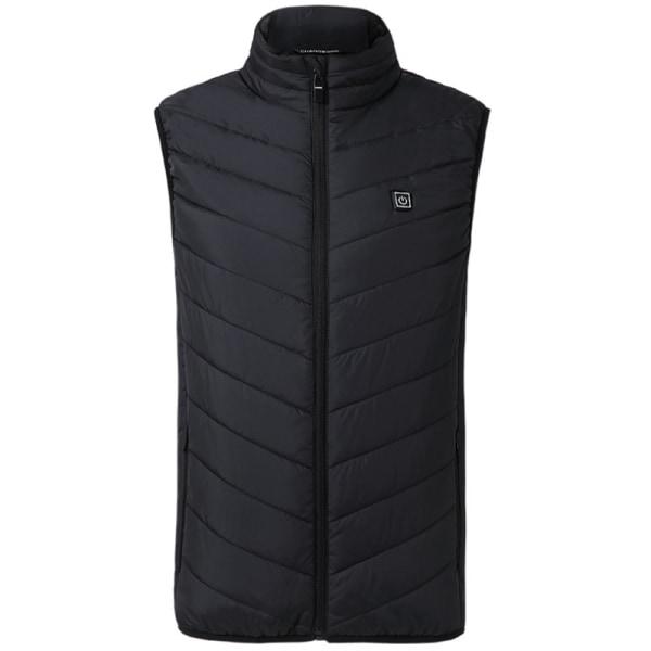 Elektrisk väst Mens uppvärmd jacka vadderad termisk kappa Black 4XL