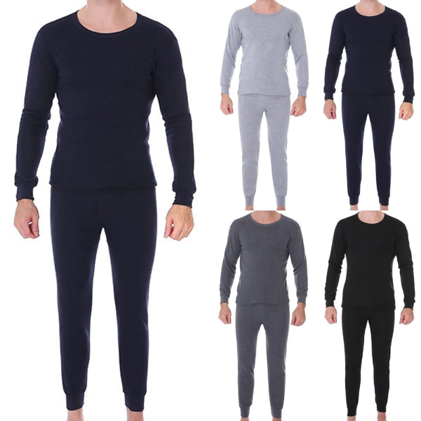 Mens Plain Underwear Set T-Shirt Tops + Long Johns Pants Dark Cyan 2XL