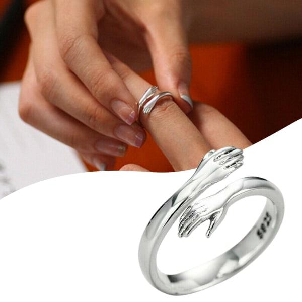 Kvinnor Silver Färg Kärlek Kram Ring Öppna Finger Justerbar