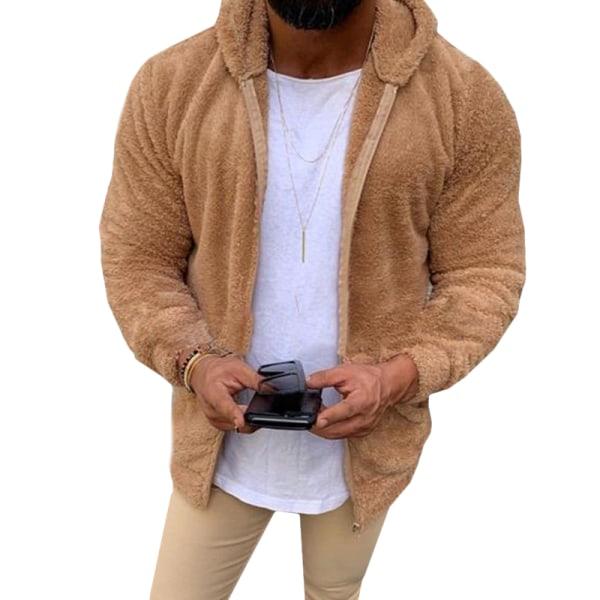 Man Casual Winter Teddy Bear Fleece Hoody Jacket Coat Top Coffee 2XL