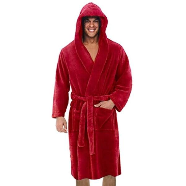 Män långärmad badrock med mjuk loungebadklädningsrock Red 2XL