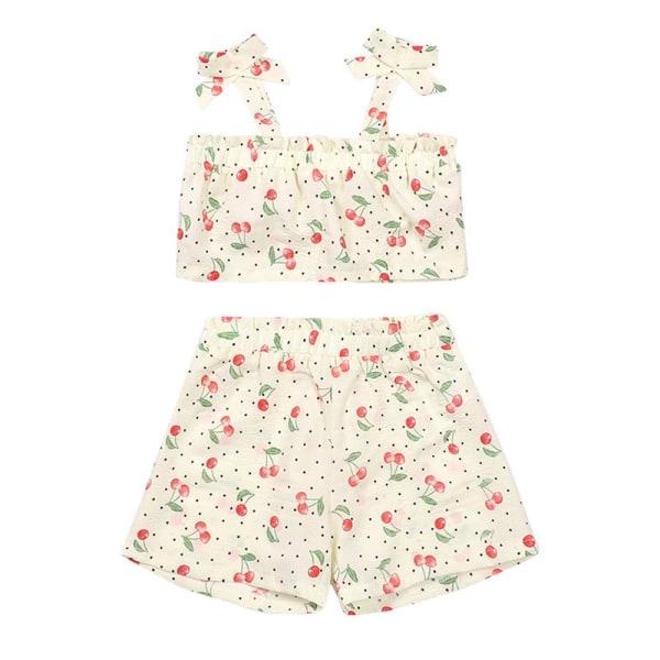 Flickor Casual Cherry Sling Vest Toppar T-shirt + Shortskläder 110